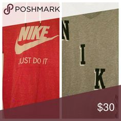 Women's Nike bundle Light pullover salmon colored hoodie size medium with a grey v neck dri fit t-shirt size medium. BOTH NEVER WORN Tops Tees - Short Sleeve