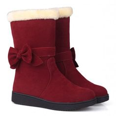 Preppy Solid Color and Bow Design Women's Suede Snow BootsBoots | RoseGal.com