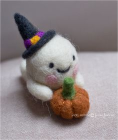 Handmade needle felted cute ghost-Halloween-needle felting Cute Ghost, Halloween Ghosts, Needle Felting, I Shop, Hands, Christmas Ornaments, Holiday Decor, How To Make, Crafts