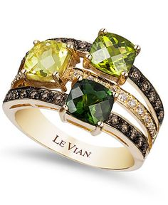 Green as gold! Le Vian's striking ring features a three-row design bejeweled with cushion-cut green tourmaline (7/8 ct. t.w.), peridot (7/8 ct. t.w.) and lemon quartz (7/8 ct. t.w.) and round-cut choc