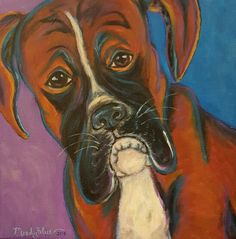 Fun, whimsical boxer dog art