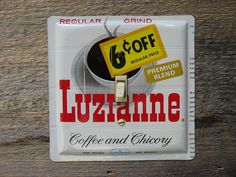 Luzianne Coffee Tin Switch Plate Cover Switchplate by tincansally (Home & Living, Kitchen & Dining, Kitchen Décor, luzianne coffee, coffee tin, switch plate, switch cover, coffee switchplate, antique switchplate, kitchen switchplate, antique lighting, lighting decor, mid century, 1960s kitchen, antique house, mid century decor)