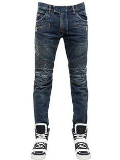 11ead8a26d0 BALMAIN  Blue Washed Painted Cotton Denim Jeans. Biker Jeans