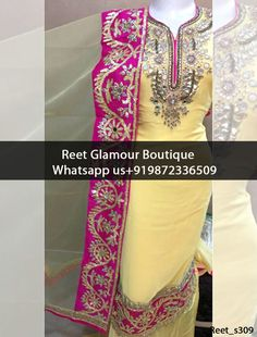 Ravishing LemonChiffon Embroidered Punjabi Suit Product Code : Reet_s309 To Order, Call/Whats app On +919872336509 We Offer Huge Variety Of Punjabi Suits, Anarkali Suits, Lehenga Choli, Bridal Suits,Sari, Gowns Etc .We Can Also Design Any Suit Of Your Own Design And Any Color Combination.