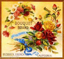 Riverside Bouquet Rose Flowers Orange Citrus Fruit Crate Label Art Print