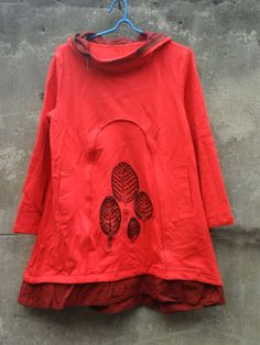 hooded babydoll cotton Long dress in red by MaLieb on Etsy, $69.00