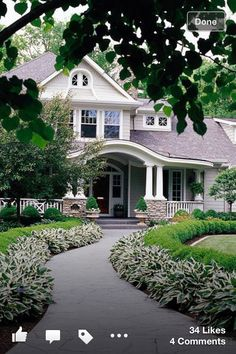 Boost your home's curb appeal with inspiration from these tips and tricks for creating perfect exterior color schemes. Learn how to figure out what exterior colors go together and how to pick hues that work for your home's style and architecture. Villa Plan, Driveway Landscaping, Curb Appeal Landscaping, Crepe Myrtle Landscaping, Front Landscaping Ideas, Driveway Edging, Hydrangea Landscaping, Circular Driveway, Farmhouse Landscaping