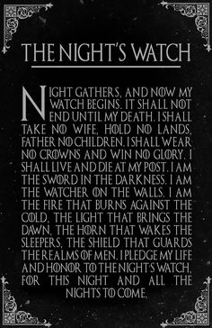 The Night's Watch Oath Game of Thrones Fantasy Pop Art Die Nachtwache Eid Game of Thrones Fantasy Pop Art Art Game Of Thrones, Watch Game Of Thrones, Game Of Thrones Facts, Game Of Thrones Quotes, Game Of Thrones Funny, Game Of Thrones Free, Game Of Thrones Stuff, Game Of Thrones Dialogues, Game Of Thrones Canvas