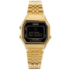 Casio LA680WEGA Mini Digital Black Face Watch ($70) ❤ liked on Polyvore featuring jewelry, watches, accessories, bracelets, ehted, black, square face watches, casio wrist watch, digital wrist watch and casio watches