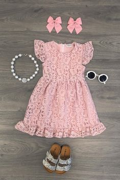 Lily lace dress - blush pink cute outfits for kids, toddler girl outfits, c Little Girl Outfits, Cute Outfits For Kids, Toddler Girl Outfits, Toddler Fashion, Kids Fashion, Baby Dress, Pink Dress, Cute Baby Clothes, Dress Outfits
