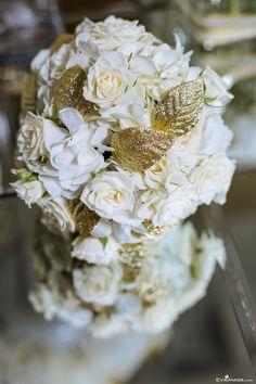 White & Gold Compact Bridal Bouquet