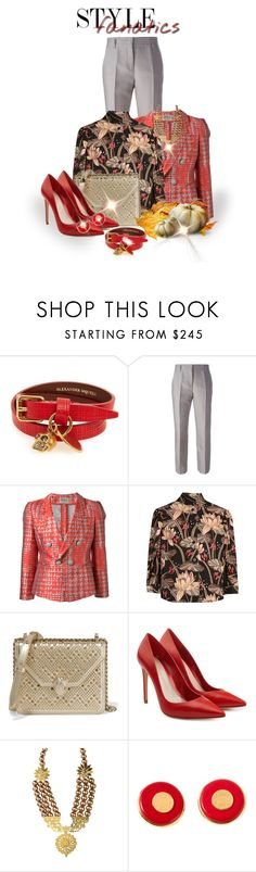 """Fall Suit Jacket"" by shamrockclover ❤ liked on Polyvore featuring Alexander McQueen, Dorothee Schumacher, Armani Collezioni, Loewe, Bulgari and Hermès"
