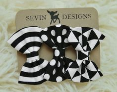 Geometric Bows  Set of 3   Baby Newborn by deargraceandparker