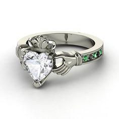 Heart Iolite Palladium Ring