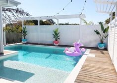 33 Charming Backyard Pool Landscaping Ideas You Will Love - You can give your swimming pool a new and different look simply by adding pool lights. A backyard pool is a lucky thing to have and if you have one, t. Backyard Pool Landscaping, Backyard Pool Designs, Small Backyard Pools, Outdoor Pool, Landscaping Ideas, Courtyard Pool, Small Pools, Backyard Ideas, Swimming Pools Backyard