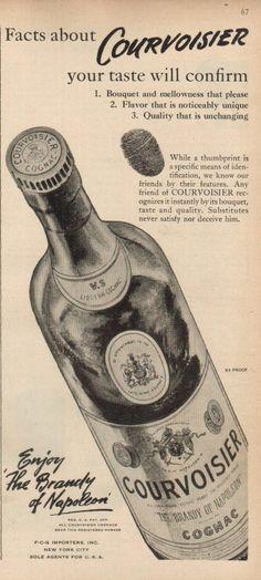 1947 Courvoisier Cognac Napoleon Brandy Bottle Art Thumbprint Vintage 1940s Ad