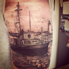 Jaws orca tattoo ship