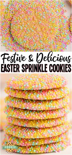 Easter Sprinkle Cookies Are A Great Way To Celebrate The Holiday With A Sweet Treat. The Colorful Sprinkles On A Soft And Chewy Sugar Cookie Make For A Delicious Snack That Looks As Good As It Tastes From Family Cookie Recipes Via Familycookierecipes Easy Summer Desserts, Easy No Bake Desserts, Fun Desserts, Delicious Desserts, Dessert Recipes, Easter Desserts, Easter Food, Strawberry Desserts, Chewy Sugar Cookies