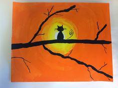 Cat Silhouette Sunsets - grade (Color It Like you MEAN it! Halloween Art Projects, Fall Art Projects, Classroom Art Projects, Halloween Painting, School Art Projects, Art Classroom, First Grade Art, October Art, Ecole Art