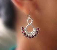 Aluminum, copper, garnet wire wrapped earrings by Lise