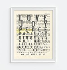 Fruit of the Spirit - Galatians 5:23 -Vintage Bible Highlighted Verse Scripture Page- Christian Wall ART PRINT