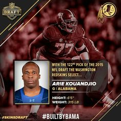 """Arie Kouandjio, Alabama - Drafted by the Redskins By @alabama.ftbl """"Congrats to Arie Kouandjio for being the 122nd pick in the fourth round by the Washington Redskins #NFLDraft #Alabama #RollTide #BuiltByBama #Bama #BamaNation #CrimsonTide #RTR #Tide #RammerJammer"""