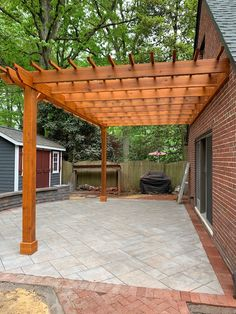 Looking for a stylish way to frame in your backyard retreat? Want moreshade on your outdoor patio? Attached pergola kits make an easy addition to your patio thatextend your livable space. Bring the indoors out and attach a pergola to your deck or patio! Backyard Patio Designs, Wooden Pergola, Backyard Pergola, Pergola Designs, Backyard Landscaping, Patio Ideas, Gazebo Ideas, Covered Pergola Patio, Front Porch Pergola