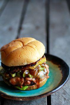 Hawaiian BBQ Salmon Burgers with Coconut CaramelizedPineapple