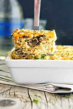 What's for dinner? Cheesy Mushroom Quinoa Casserole.