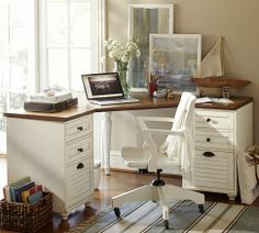 Whitney Corner Desk Set - Almond White | Pottery Barn