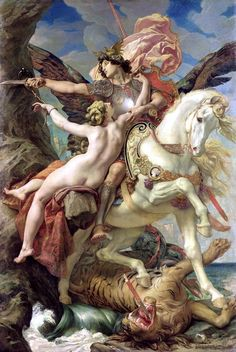 Paul-Joseph Blanc, Roger and Angelica, 1876, from an epic poem called Orlando Furioso published in 1532. Has echoes of Perseus and Andromeda and St George and the dragon.