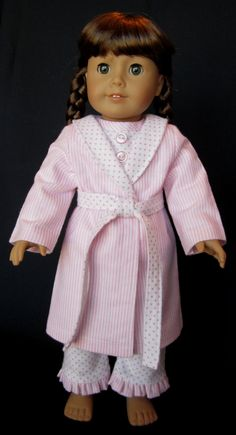 18 Inch Doll Clothes American Girl  - Pajama and Robe Set in Pink Dots and Stripes