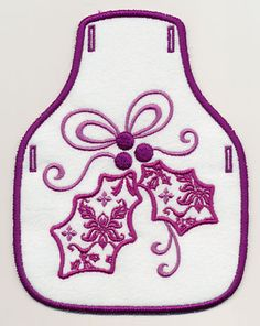 Damask Christmas Holly Bottle Apron (In-the-Hoop) design (X10473) from www.Emblibrary.com
