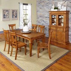 Home Styles Americana 7 Piece Dining Set with Buffet and Hutch - 500