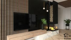 Feature Wall Living Room, Living Room Tv, Living Room With Fireplace, Home Entrance Decor, Home Decor, Fireplace Tv Wall, Modern Interior, Interior Design, Elegant Living Room