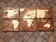 Wood Stained World Map by CraftyHandsFullHeart on Etsy, $90.00