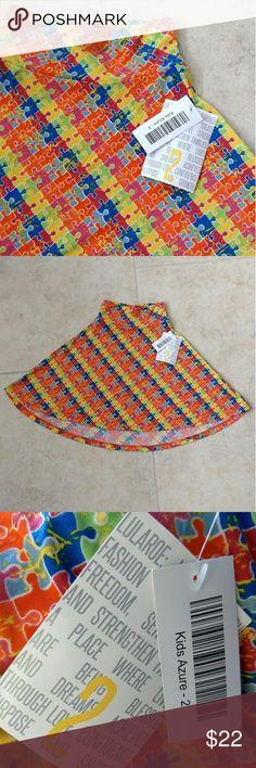 149e0b1749b NWT! LuLaRoe Kids Azure Skirt Puzzle Pieces NWT