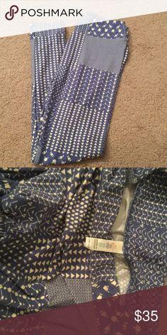 Lularoe. Never worn OS Lularoe, os leggings. Never worn. Nice blue and cream color. LuLaRoe Pants Leggings