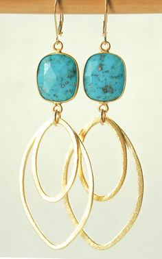 Hinuhinu earrings gold turquoise earrings by kealohajewelry
