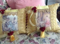 Two Victorian pillows with images of ladies by cindysvictorian