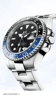 Rolex GMT-Master II 40 mm in 904L steel with a 24-hour rotatable blue and black ceramic Cerachrom bezel insert, black dial and Oyster bracelet. #RolexOfficial
