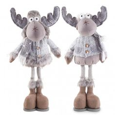 'Sherman' & 'Stefan' The Large Standing Grey Fabric Reindeer Ornament Pair Christmas Moose, French Christmas, Christmas Sewing, Handmade Christmas, Christmas Crafts, Christmas Decorations, Christmas Ornaments, Reindeer Ornaments, House Ornaments