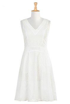 I <3 this Piped trim cotton eyelet dress from eShakti