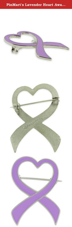 PinMart's Lavender Heart Awareness Ribbon Enamel Brooch Pin. Make a fashion statement while supporting your cause. This Lavender Heart Awareness Ribbon Pin is 3-D cast with lavender enamel color fill in a shiny nickel plated shell. The cut out heart and awareness style ribbon is a perfect design to show your support for Rett Syndrome awareness, Epilepsy awareness, Craniosynostosis awareness, Cancer and the many causes the color lavender represents. This is a brooch style, with a safety…
