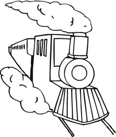 Steam train coloring Page of a steam train on the tracks