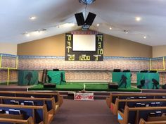 Awesome Victory stage!  They used post-its for the scoreboard so they could change the numbers depending on the skit!