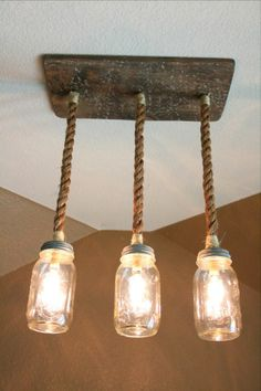 Rustic Triple Pendant Mason Jar Chandelier Reclaimed wood light fixture, mason jar, rustic, barnwood, edison bulbs graduation gift mothers day wedding