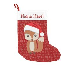 Cute Holiday Fox Personalized Animal Christmas Kids Custom Name Christmas Stocking