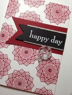 Happy Day Stamp Set - Colours: Cherry Cobbler, Basic Black, Whisper White, Silver. Ellen Woodbridge Independent Stampin' Up! Demonstrator