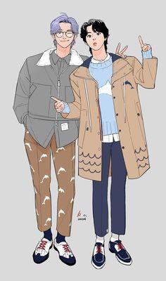 Bts Chibi, Chibi Fairy Tail, Fairy Tail Anime, Bts Manga, Anime Couples Manga, Bts Jungkook, Namjoon, Seokjin, Fanfic Namjin